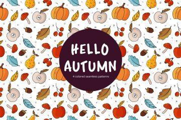 Hello Autumn Vector Free Seamless Pattern