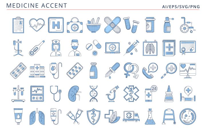 50 Medicine Icons (AI, EPS, SVG, PNG files)