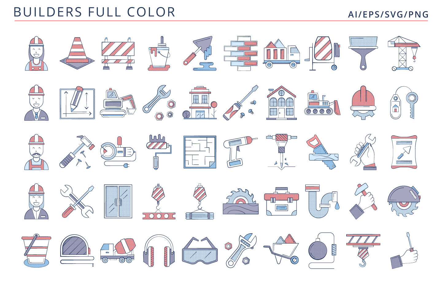 50 Builder Icons (AI, EPS, SVG, PNG files)