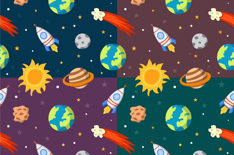 Cartoon Space Vector Seamless Pattern