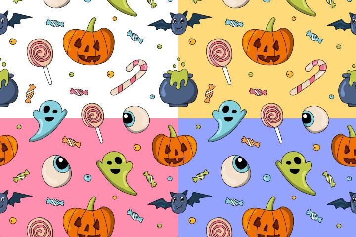 Cute Halloween Vector Seamless Pattern