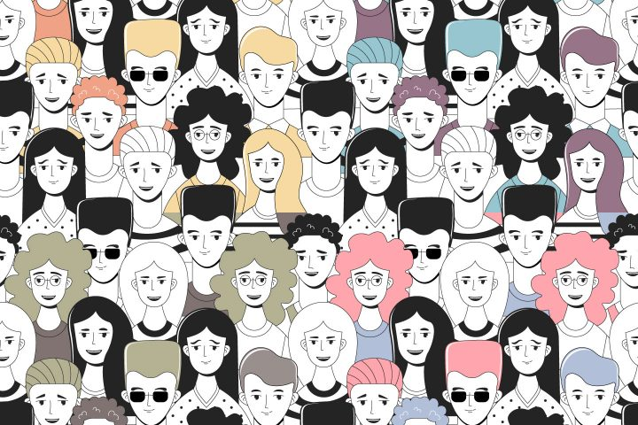 Doodle People Vector Free Seamless Pattern