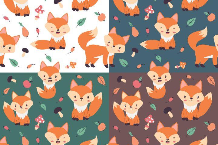 Little Fox Vector Free Seamless Pattern
