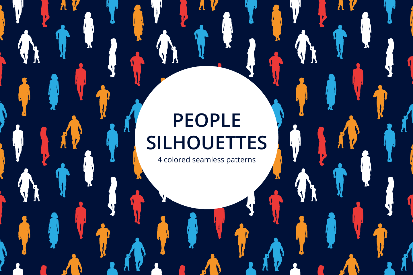 People Silhouettes Vector Seamless Pattern