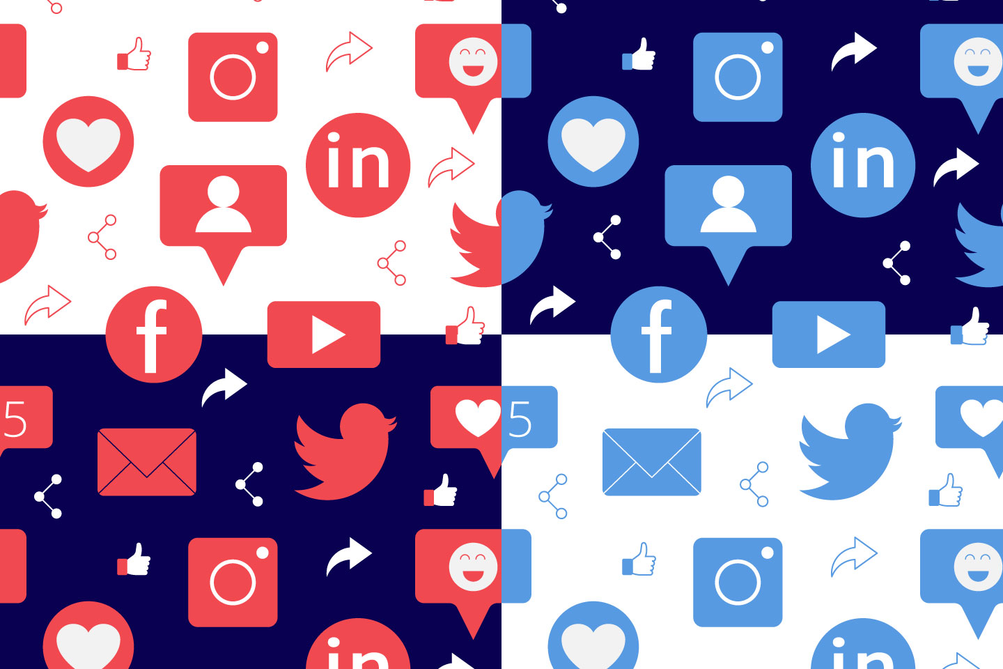 Social Networks Vector Seamless Pattern
