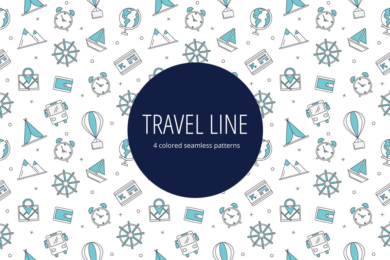 Travel Line Vector Seamless Pattern