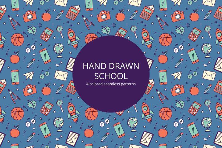 Hand Drawn School Vector Seamless Pattern