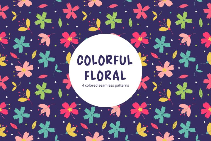 Colorful Floral Vector Seamless Pattern