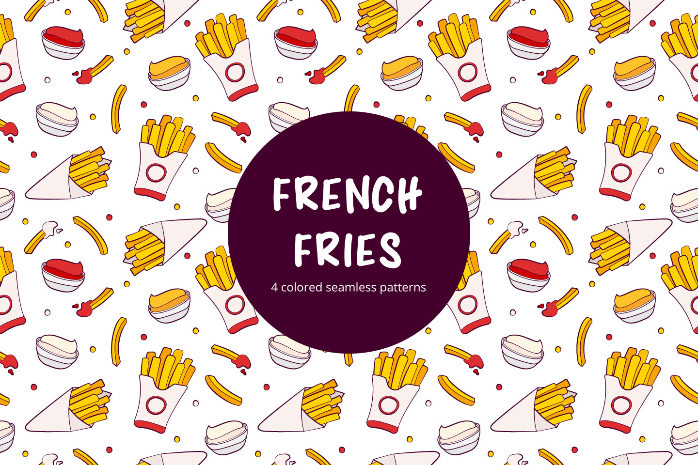 French Fries Vector Seamless Pattern