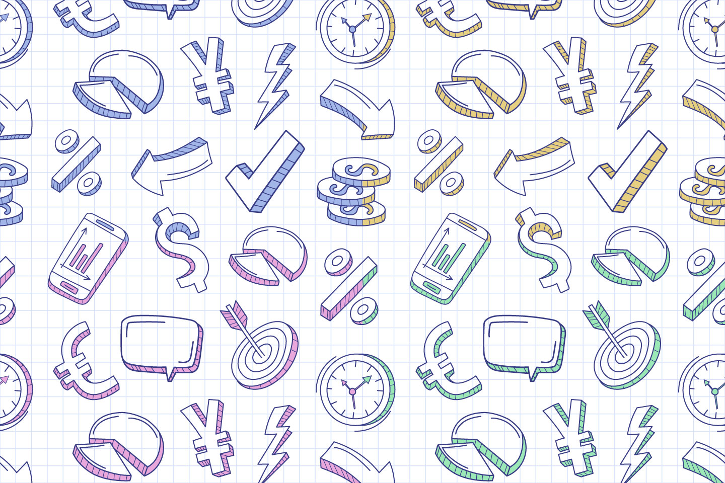 Hand Drawn Business Vector Seamless Pattern