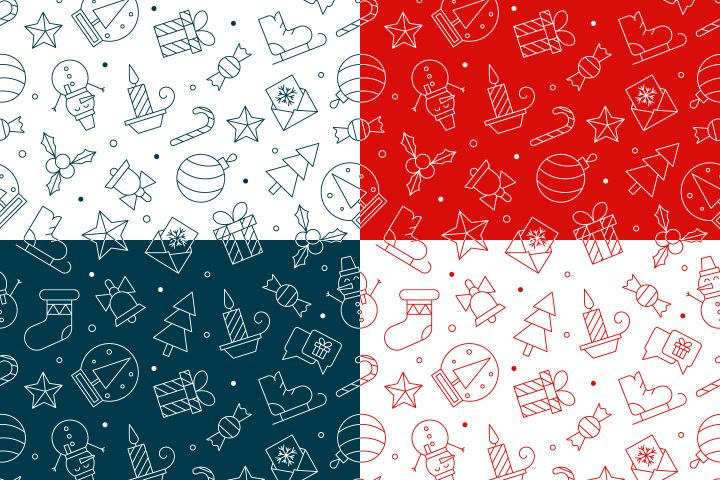Linear Christmas Vector Seamless Pattern
