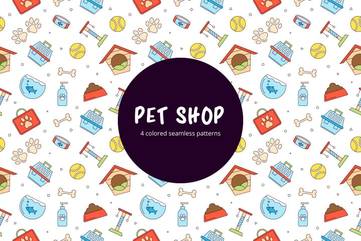 Pet Shop Linear Seamless Pattern