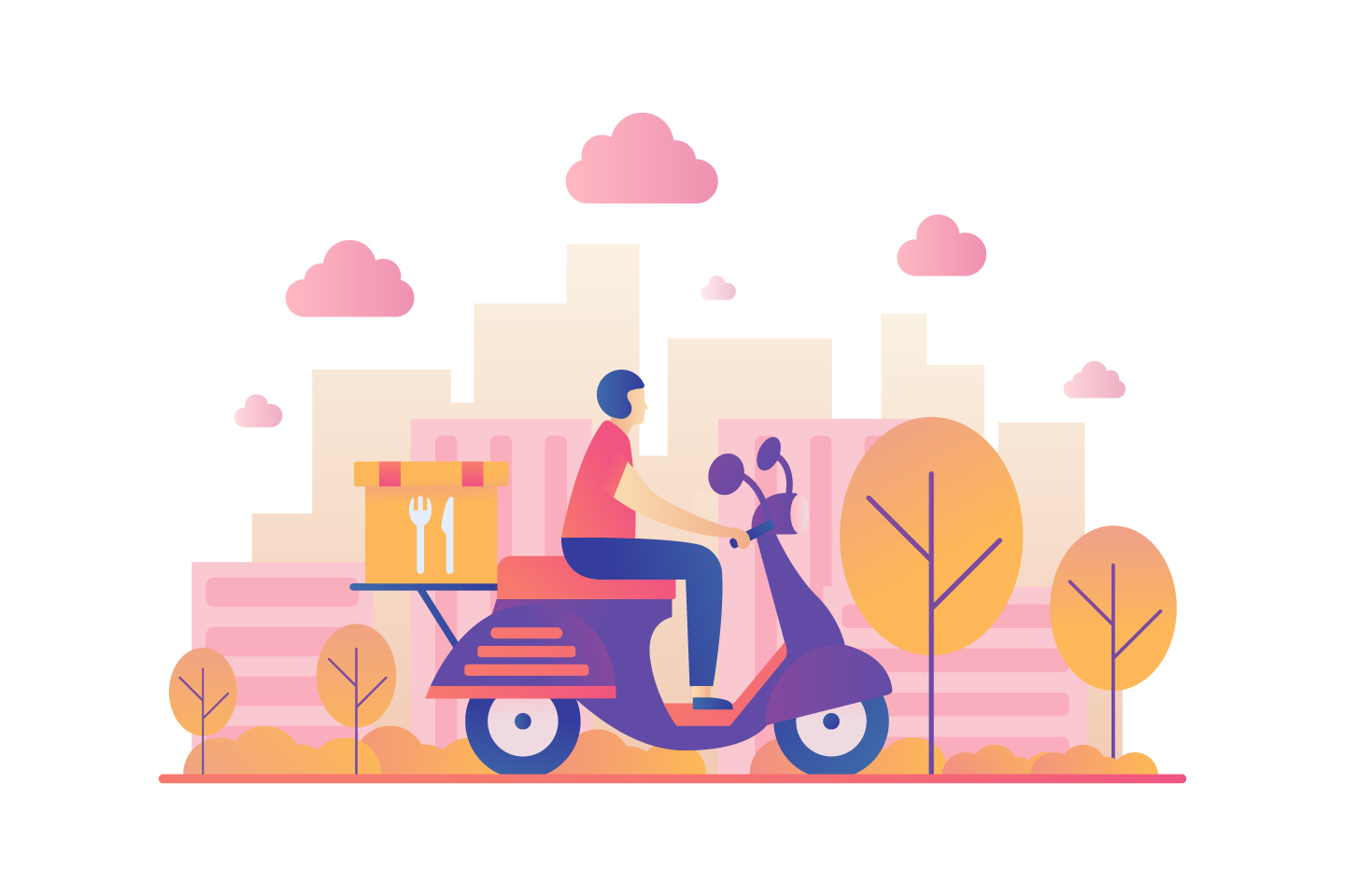 Food Delivery Vector Illustration