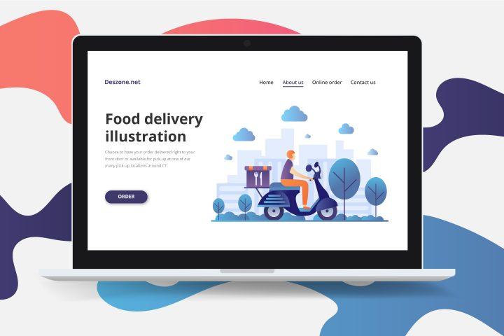 Food Delivery Vector Illustration