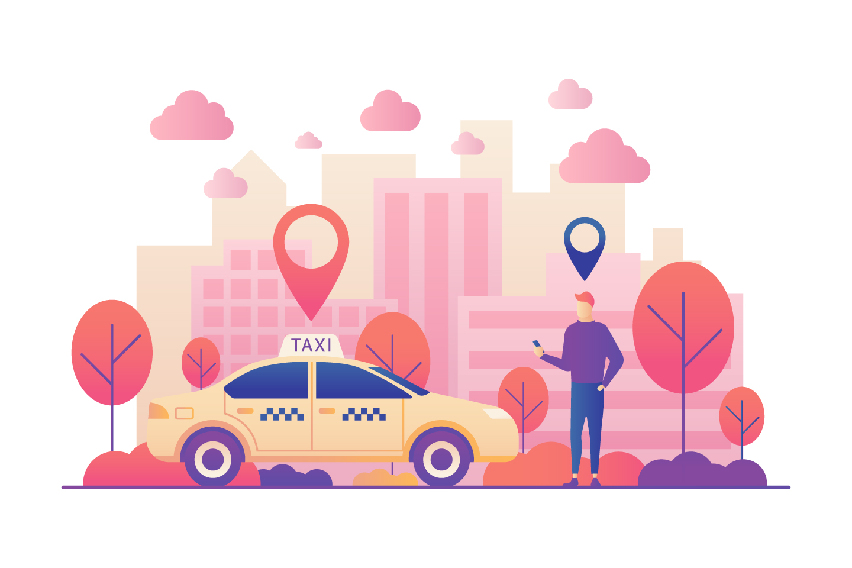 Taxi Order Vector Illustration