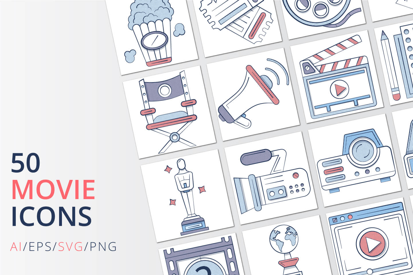 50 Movie Icons (AI, EPS, SVG, PNG files)