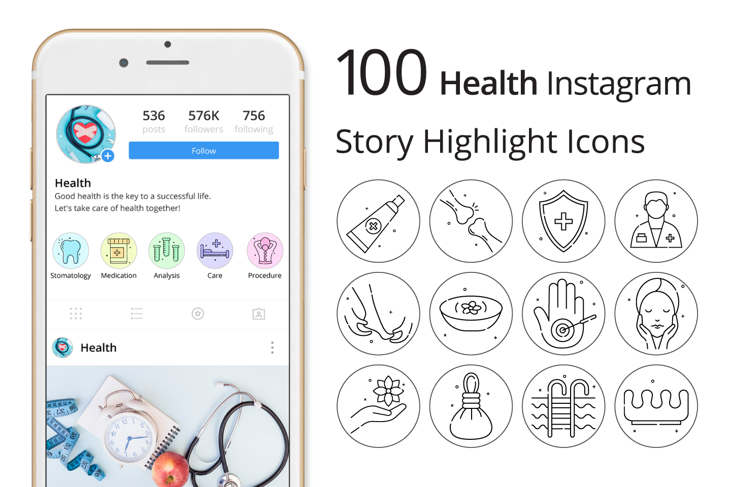 Health Instagram Story Highlight Icons Pack