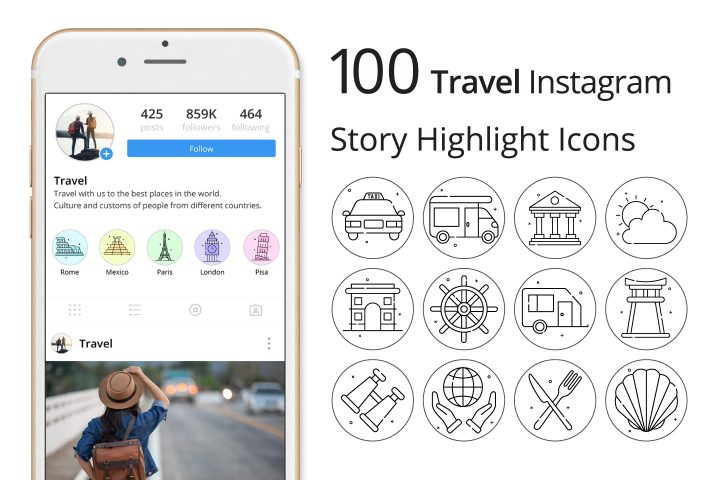 Travel Instagram Story Highlight Icons Pack