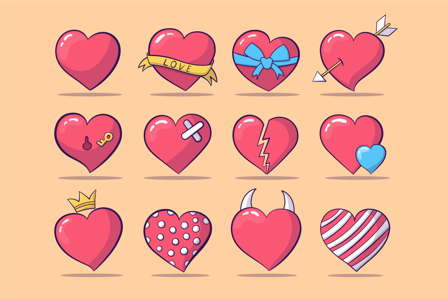 12 Thematic Hearts on the Theme of Love and Romance