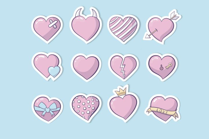 Сollection of 12 Pink Hearts