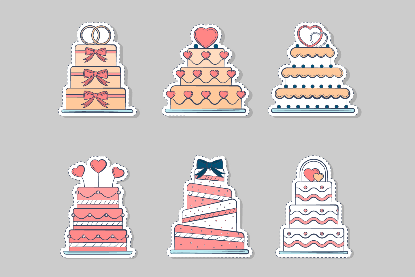 A Collection of 6 Holiday Cake Stickers