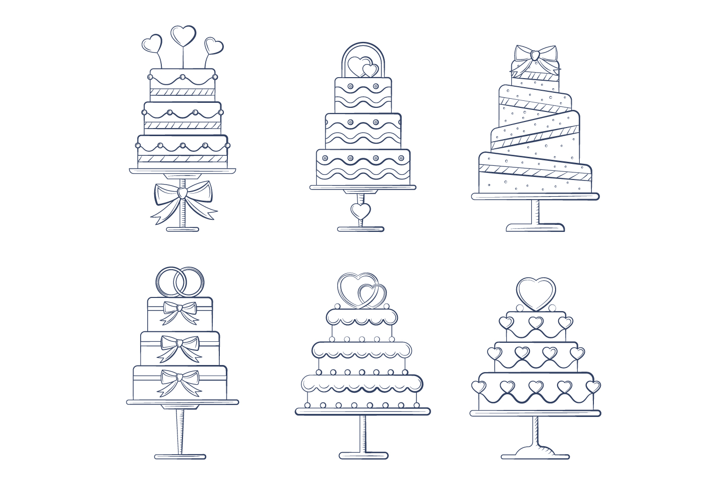 A Collection of 6 Wedding Cakes