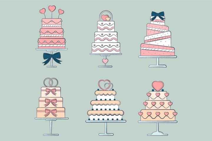 Set of Free Vector Illustrations of Wedding Cakes