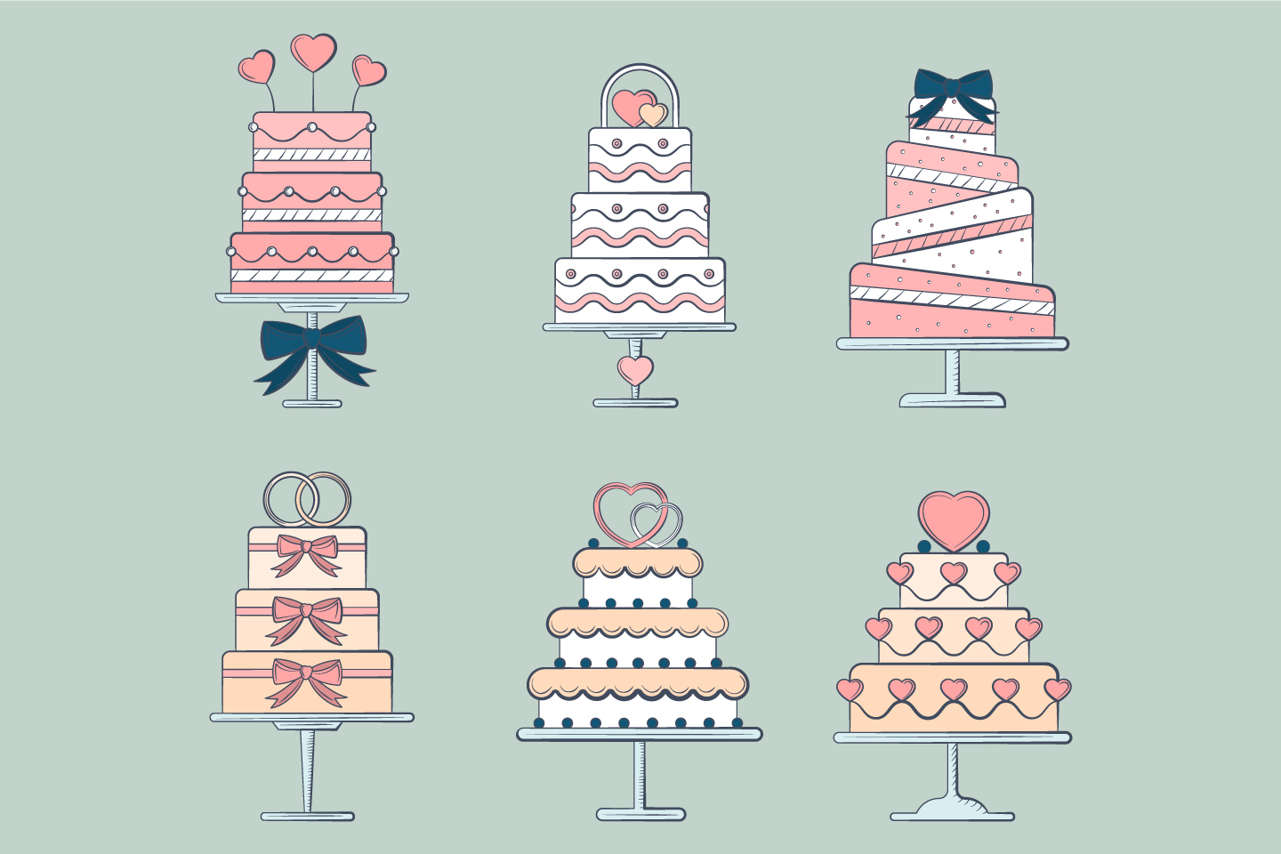 A Collection of Cakes for Weddings Vector illustration