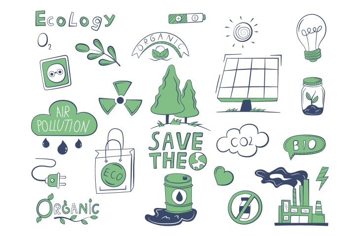 A Collection of Various Objects on the Theme of Ecology Vector Design