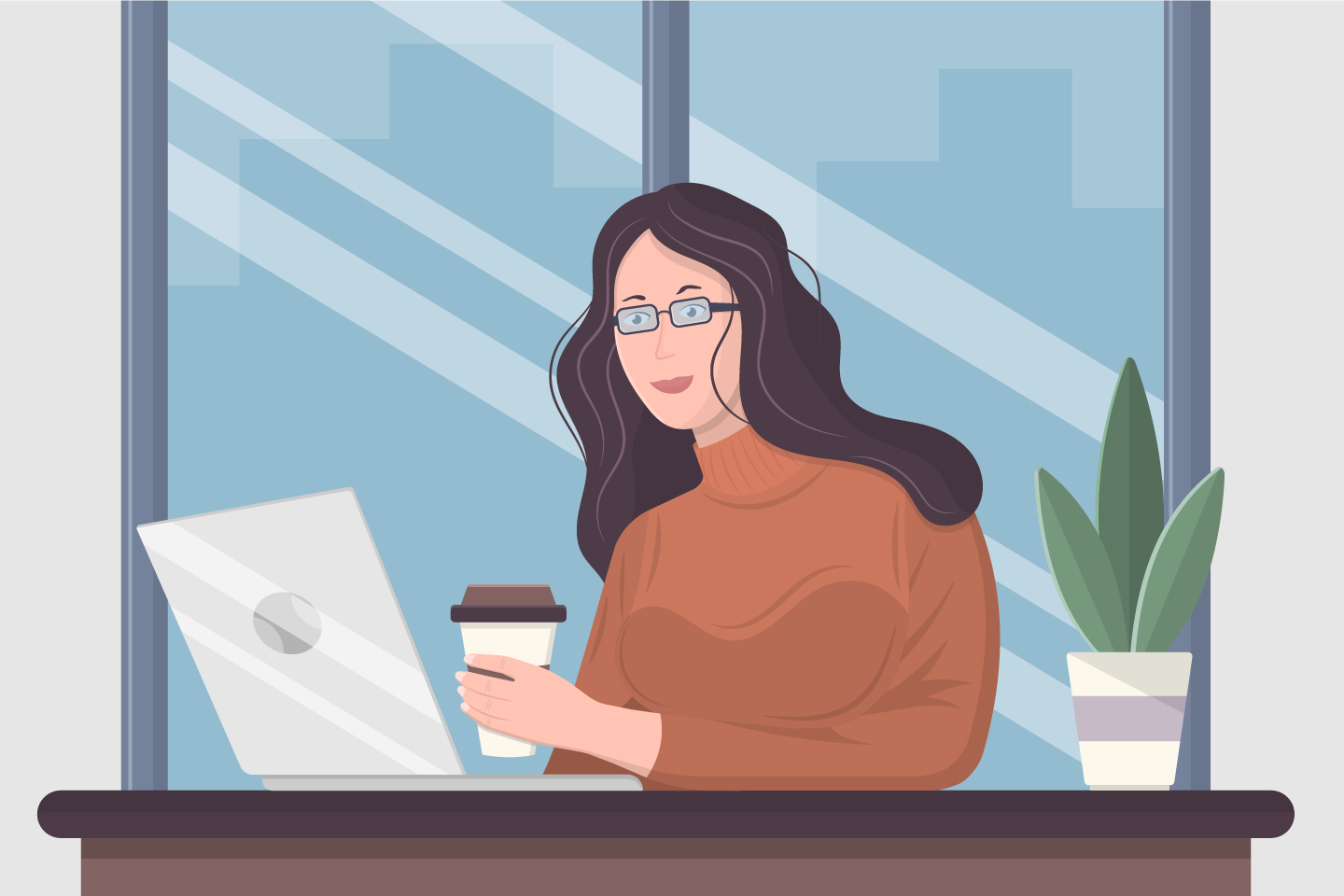A Girl Sits at aTable With a Cup of Coffee and a Laptop Flat Design