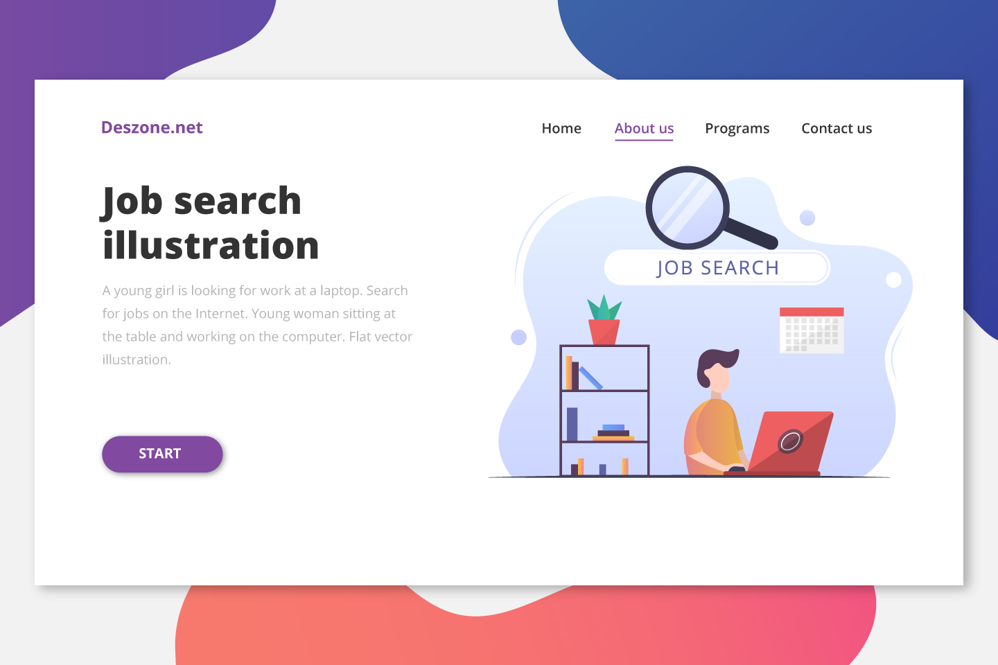 A Young Guy is Looking for Work at a Laptop Flat Design