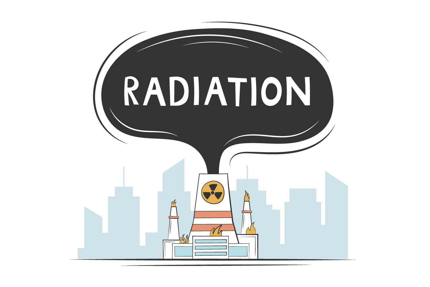 Accident at a Nuclear Power Plant with Radiation Emission Concept