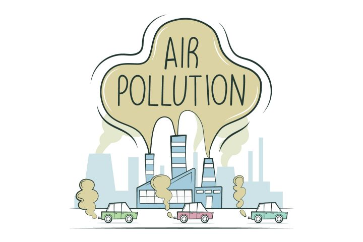 Air Pollution in the City by Factories and Vehicles Concept