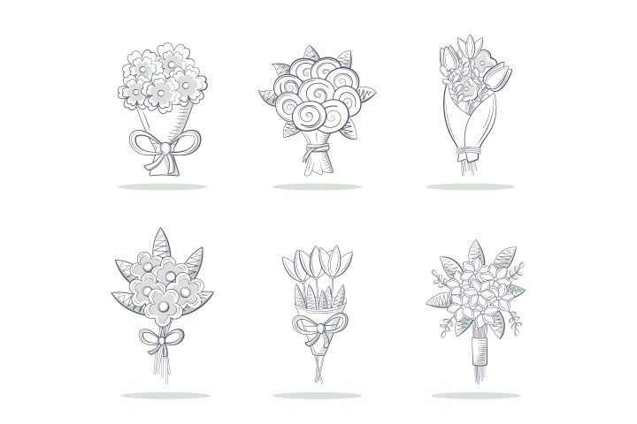 Arrangement of Various Bouquets of Flowers Monochrome