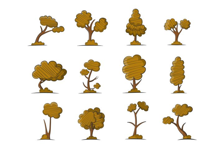 Autumn Trees Vector Objects