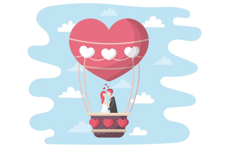 Balloon with the Bride and Groom Flat Design
