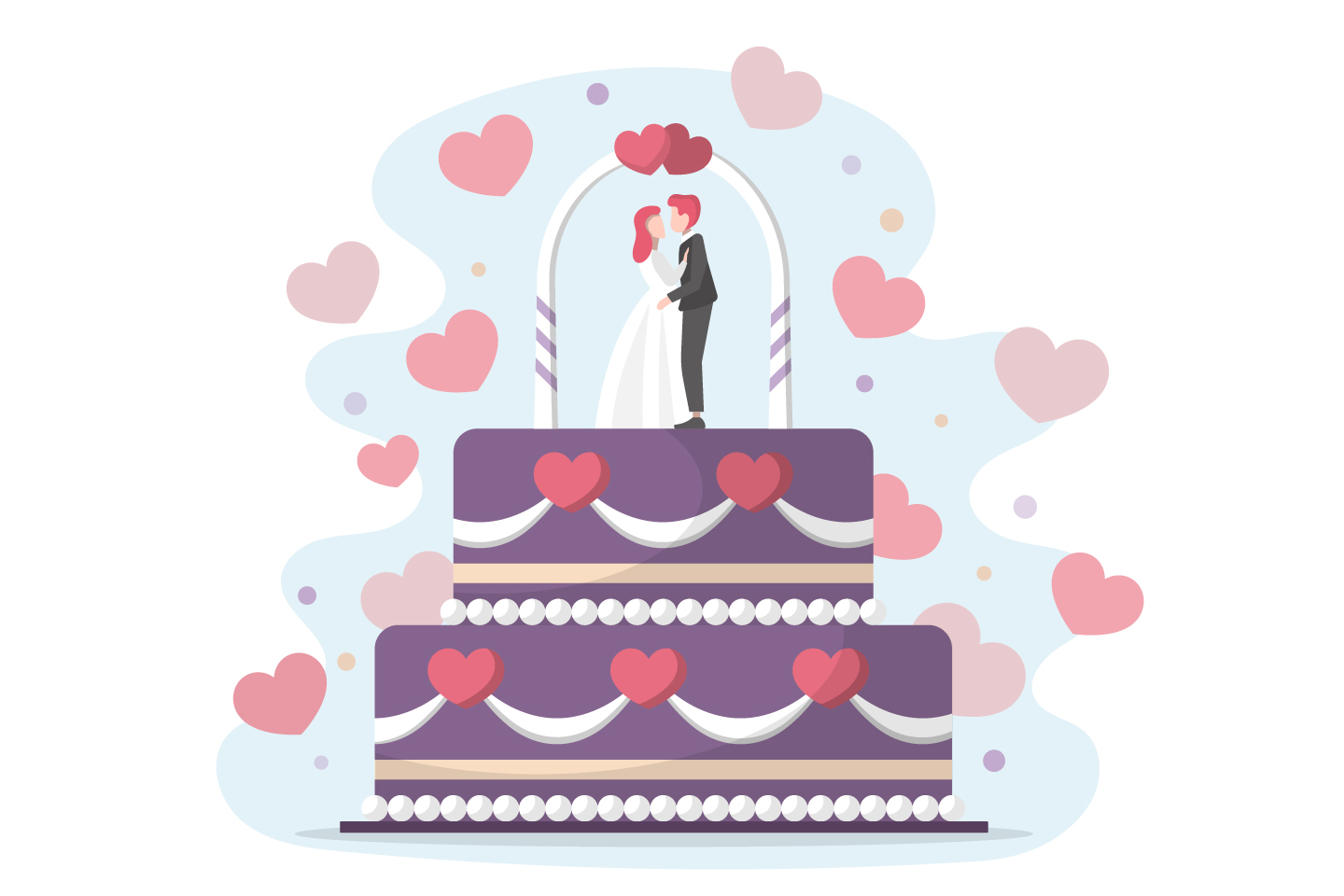 Big Wedding Cake with the Bride and Groom Vector Design