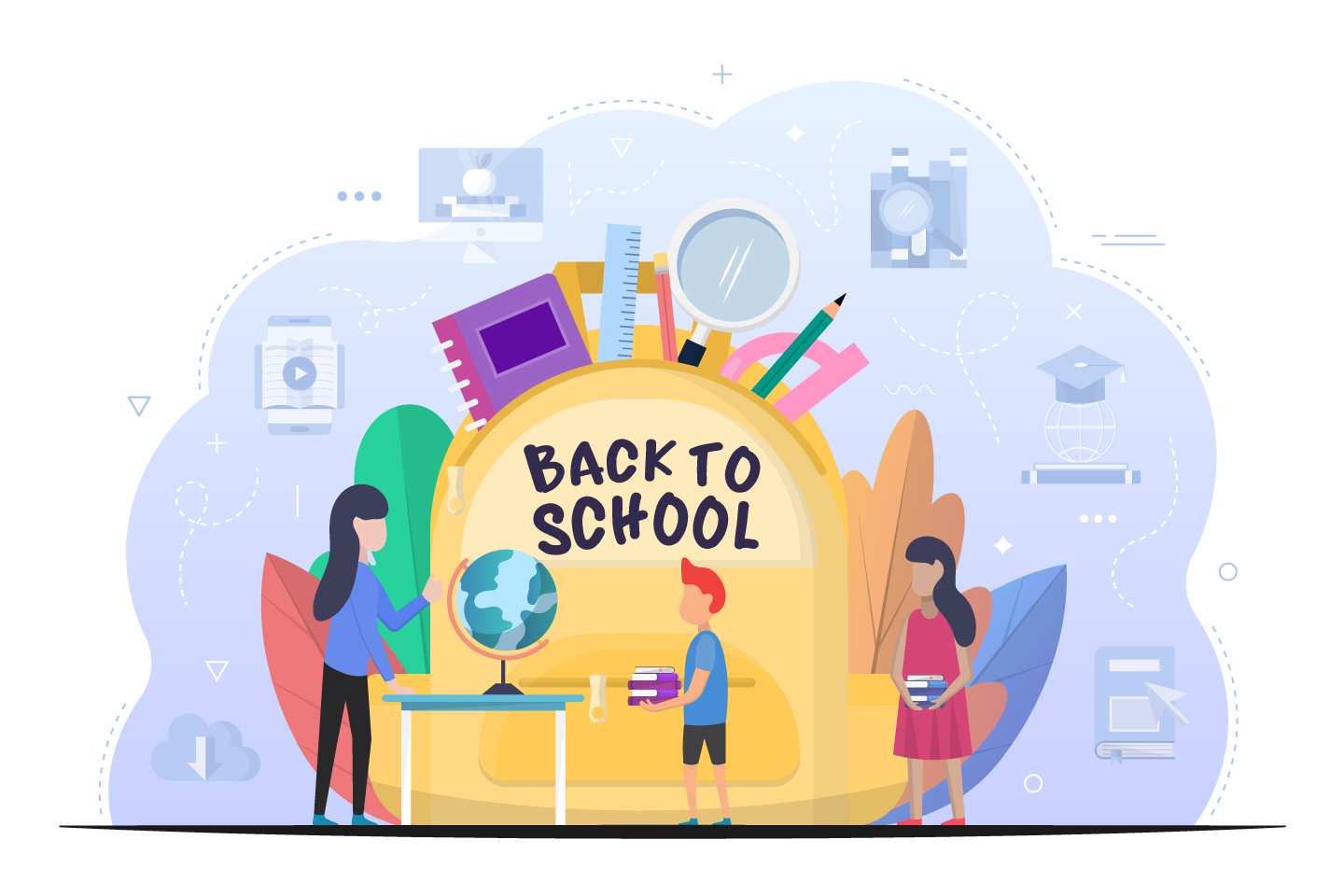 Boy and Girl are Going to School Vector Design