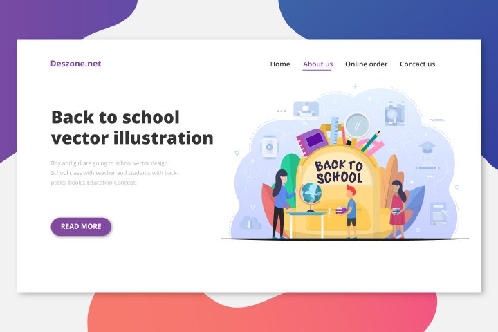 Boy and Girl are Going to School Free Vector Design
