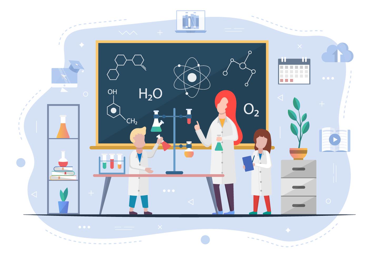 Chemistry Lesson in Children Concept