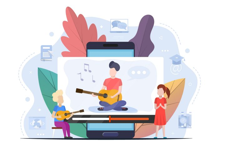 Child Playing Guitar Free Vector Design