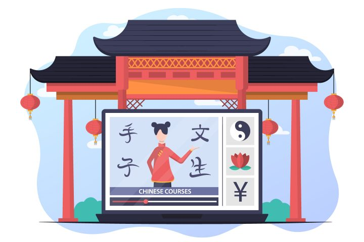 Illustration Chinese Courses in Vector for Website Free Design