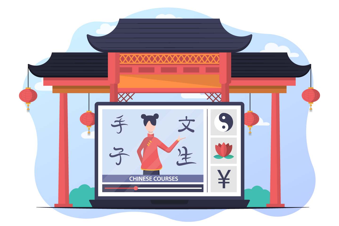 Illustration Chinese Courses in Vector for Website Design