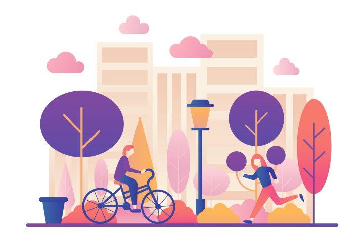 City Park Illustration for Websites Concept
