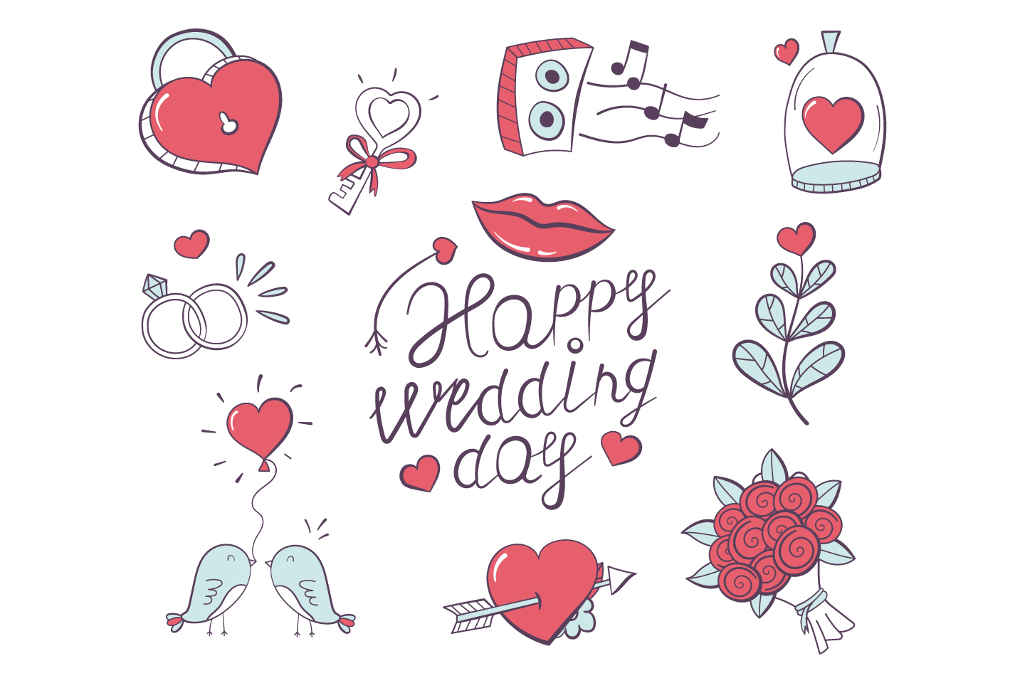 Collection of Doodle Illustrations on the Theme of Love and Wedding for for Design