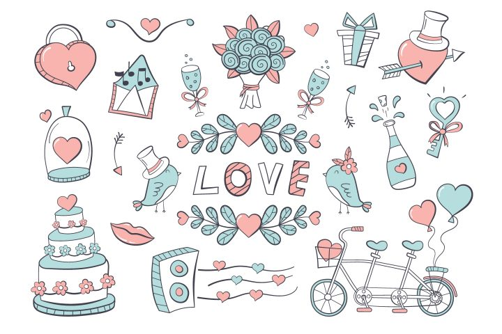 Collection of Drawings on the Theme of Love and Wedding