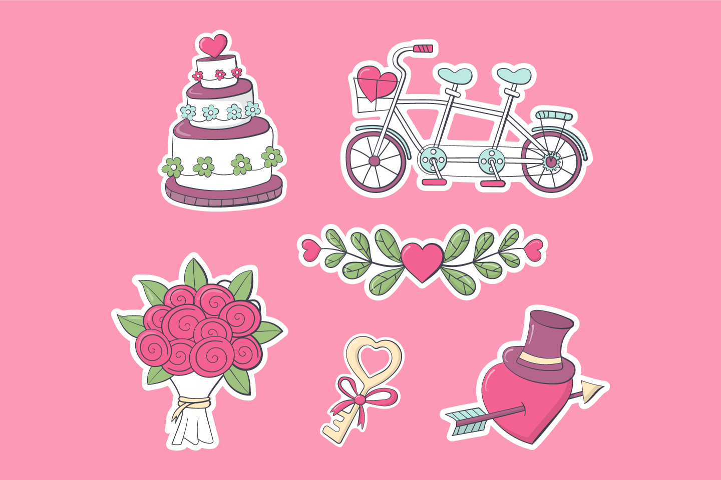 Collection of Drawings on the Theme of Love and Wedding Vector Design