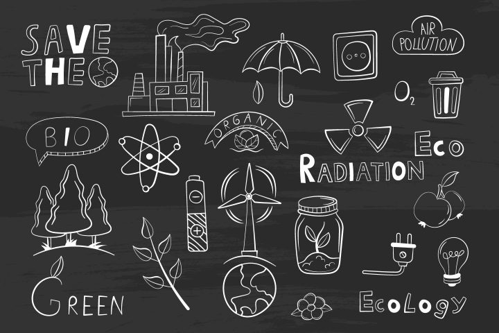 Collection of Objects on a Gray Board on the Theme of Ecology Vector Design