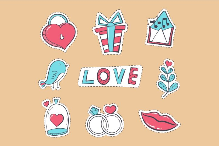 Collection of Vector Drawings on the Theme of Love and Engagement