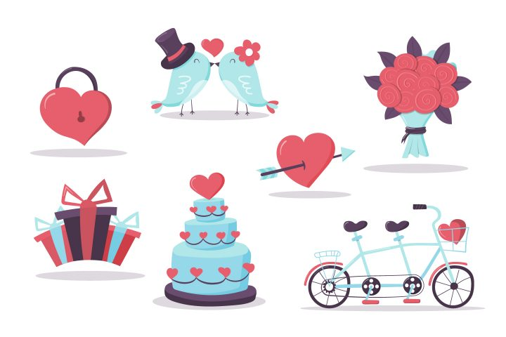 Collection of Vector Drawings on the Theme of Love and Wedding Concept